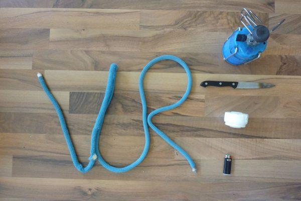 Alle Werkzeuge für das Kletterseil kürzen zuhause.