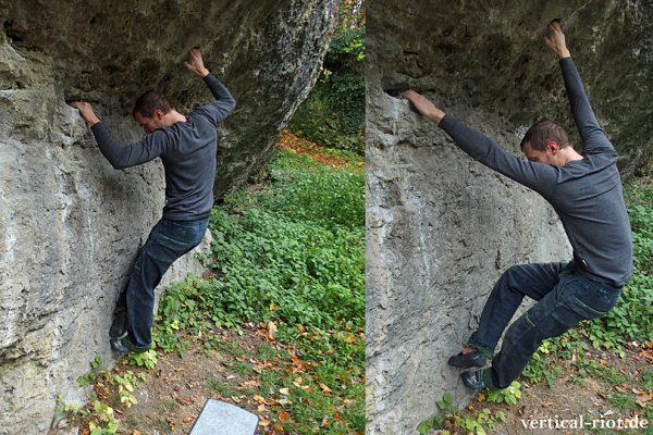 Ein Boulderer zeigt, wie es ohne Trittwechsel geht.